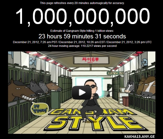 Gangnam Style hitting 1 billion views