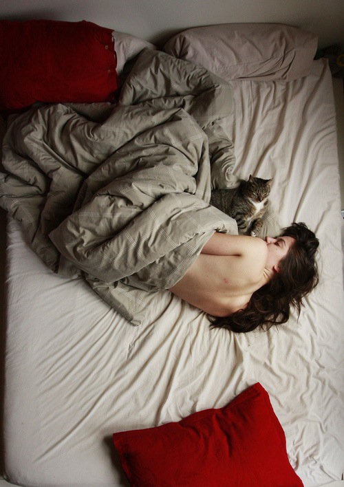 sleep girl with cat